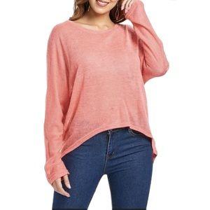 🦩 3/$23 | Pink Dolman Sleeve Loose Fit Blouse